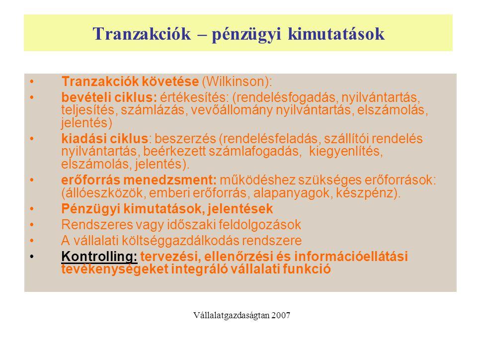 Tranzakciók – pénzügyi kimutatások