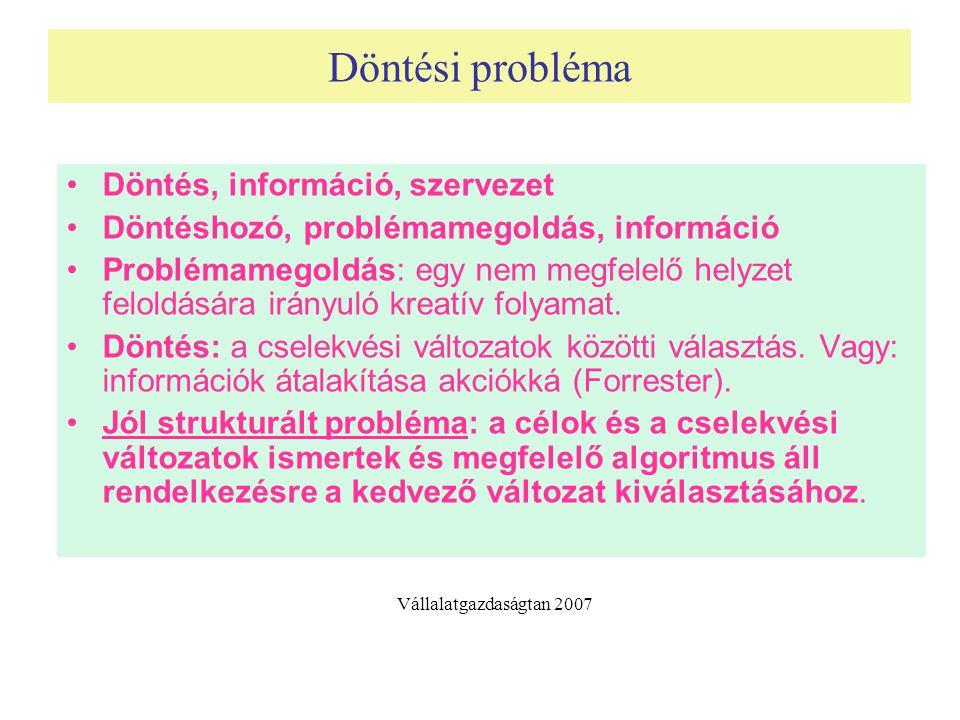 Döntési probléma Döntés, információ, szervezet