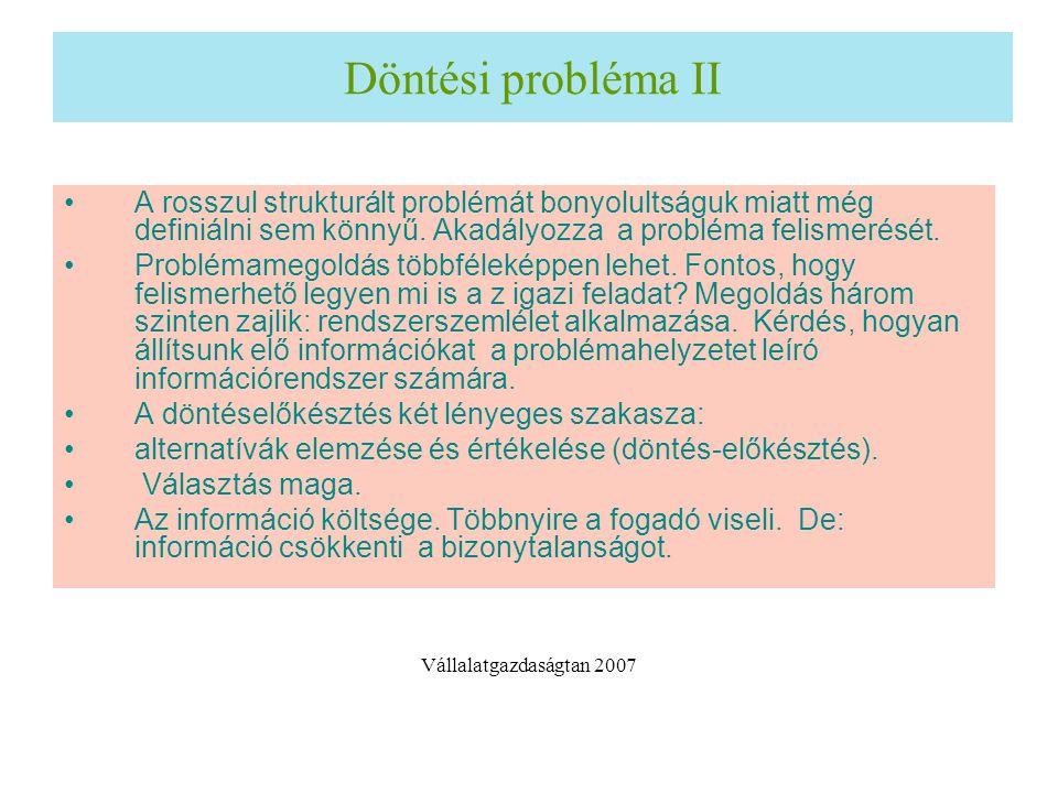 Döntési probléma II A rosszul strukturált problémát bonyolultságuk miatt még definiálni sem könnyű. Akadályozza a probléma felismerését.