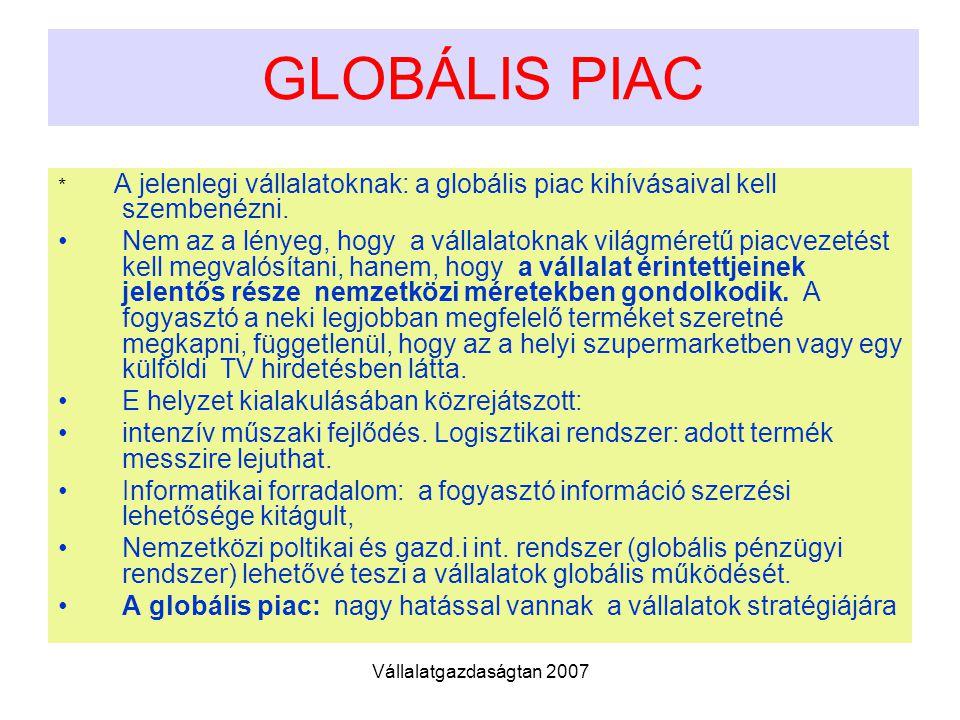 GLOBÁLIS PIAC * A jelenlegi vállalatoknak: a globális piac kihívásaival kell szembenézni.