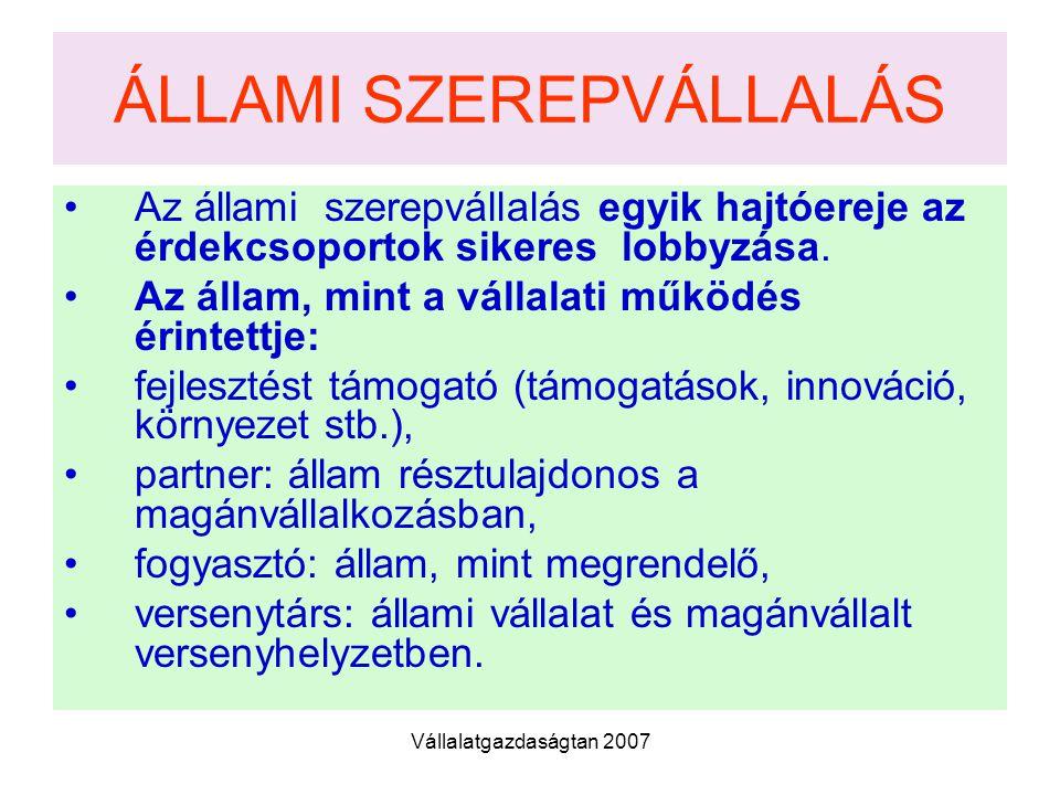 ÁLLAMI SZEREPVÁLLALÁS