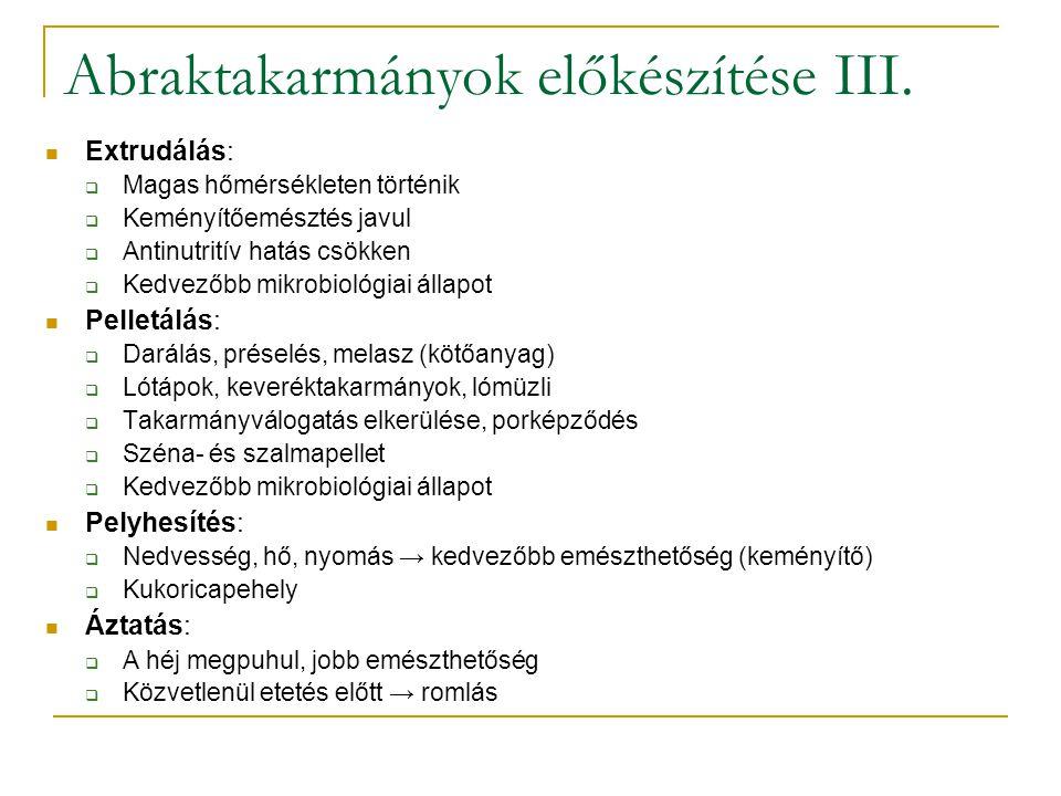Abraktakarmányok előkészítése III.