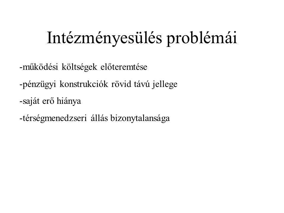 Intézményesülés problémái