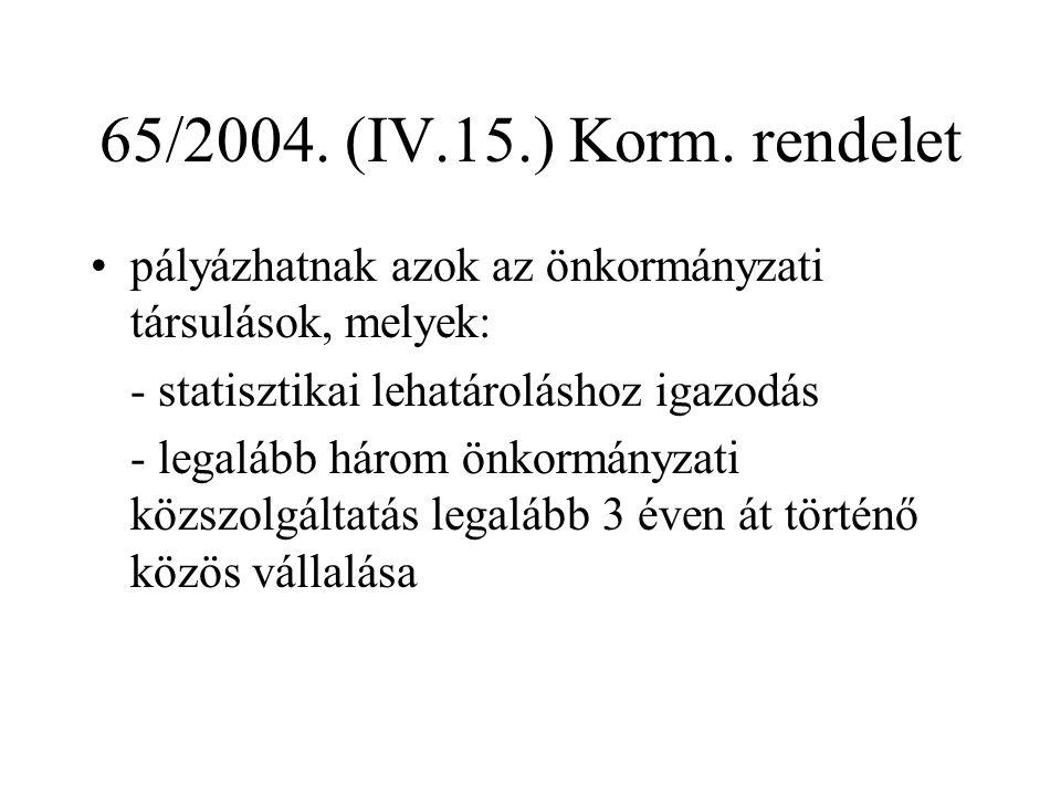 65/2004. (IV.15.) Korm. rendelet pályázhatnak azok az önkormányzati társulások, melyek: - statisztikai lehatároláshoz igazodás.