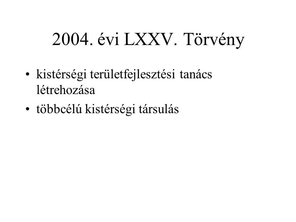2004. évi LXXV. Törvény kistérségi területfejlesztési tanács létrehozása.