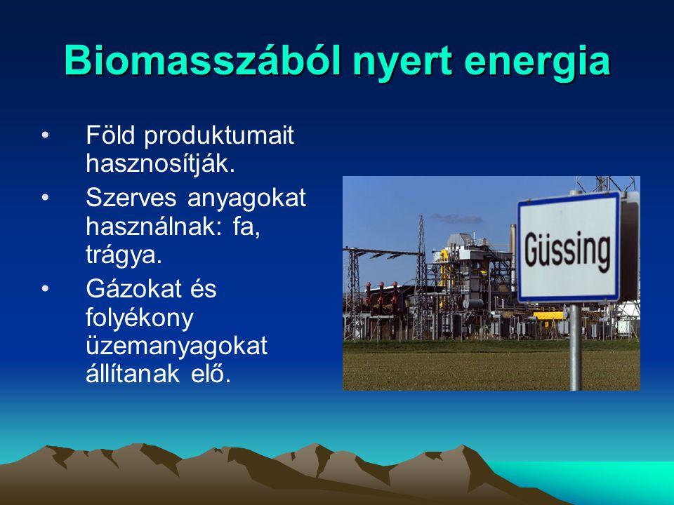Biomasszából nyert energia