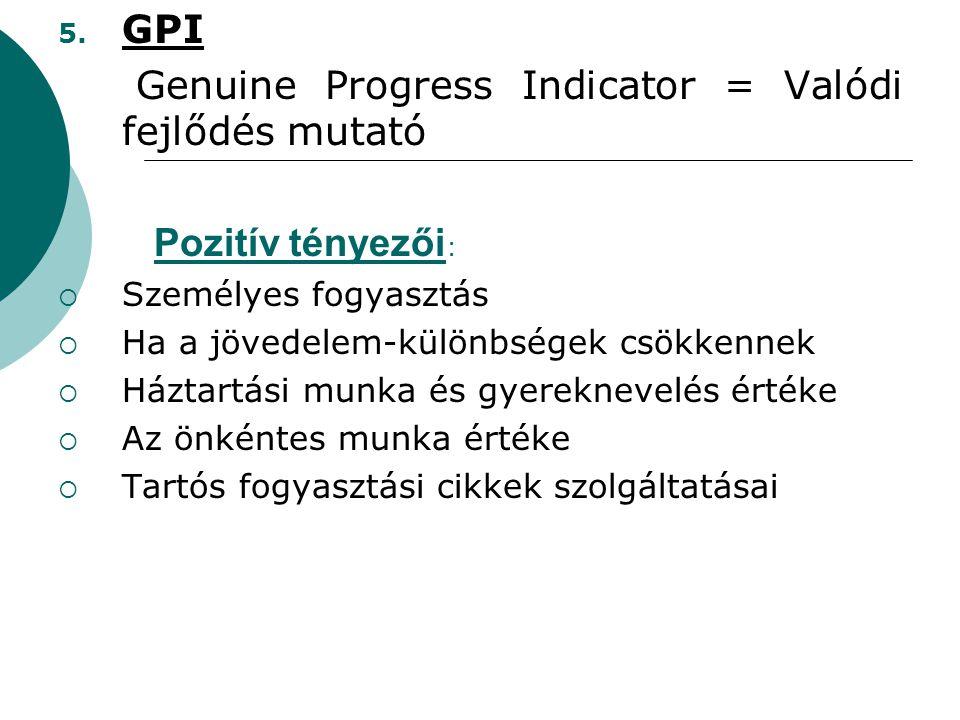 Genuine Progress Indicator = Valódi fejlődés mutató
