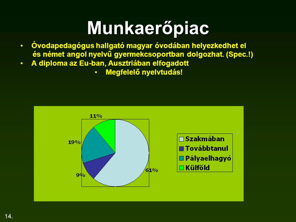 Munkaerőpiac Óvodapedagógus hallgató magyar óvodában helyezkedhet el