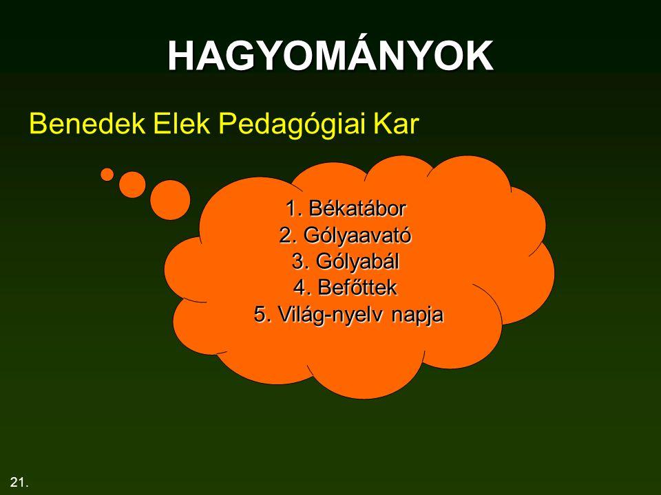 HAGYOMÁNYOK Benedek Elek Pedagógiai Kar 1. Békatábor 2. Gólyaavató