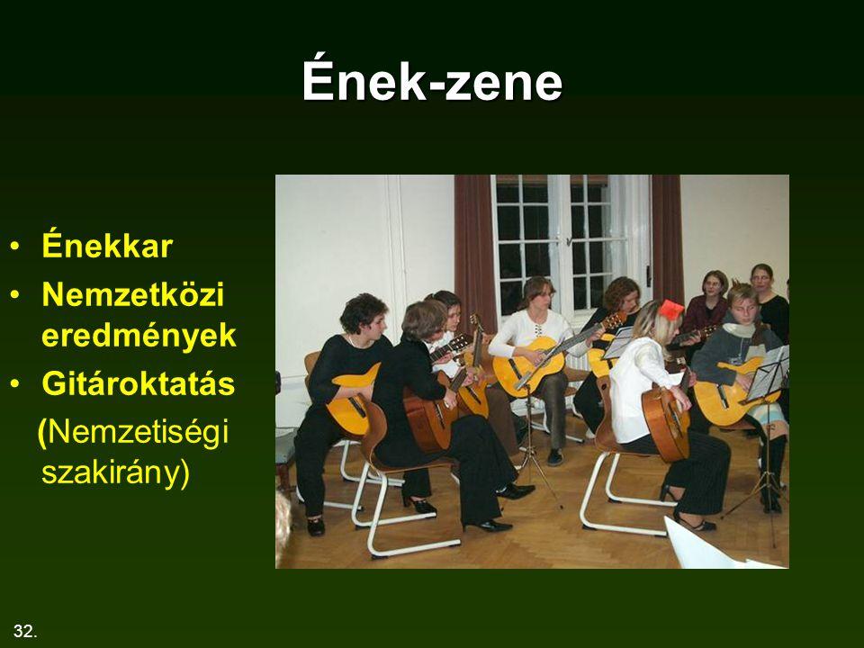 Ének-zene Énekkar Nemzetközi eredmények Gitároktatás