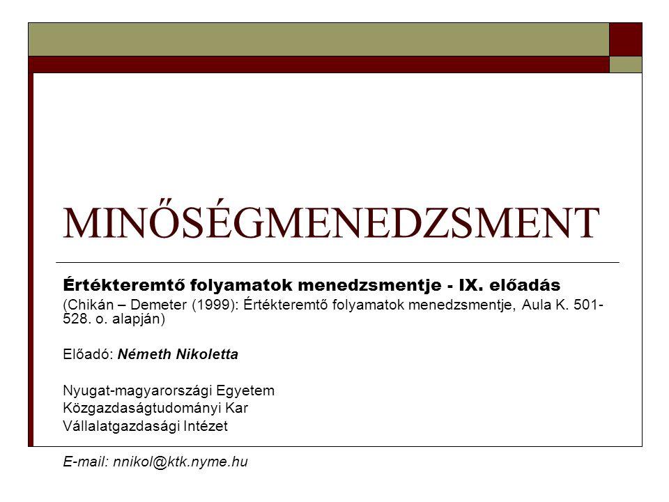 MINŐSÉGMENEDZSMENT Értékteremtő folyamatok menedzsmentje - IX. előadás