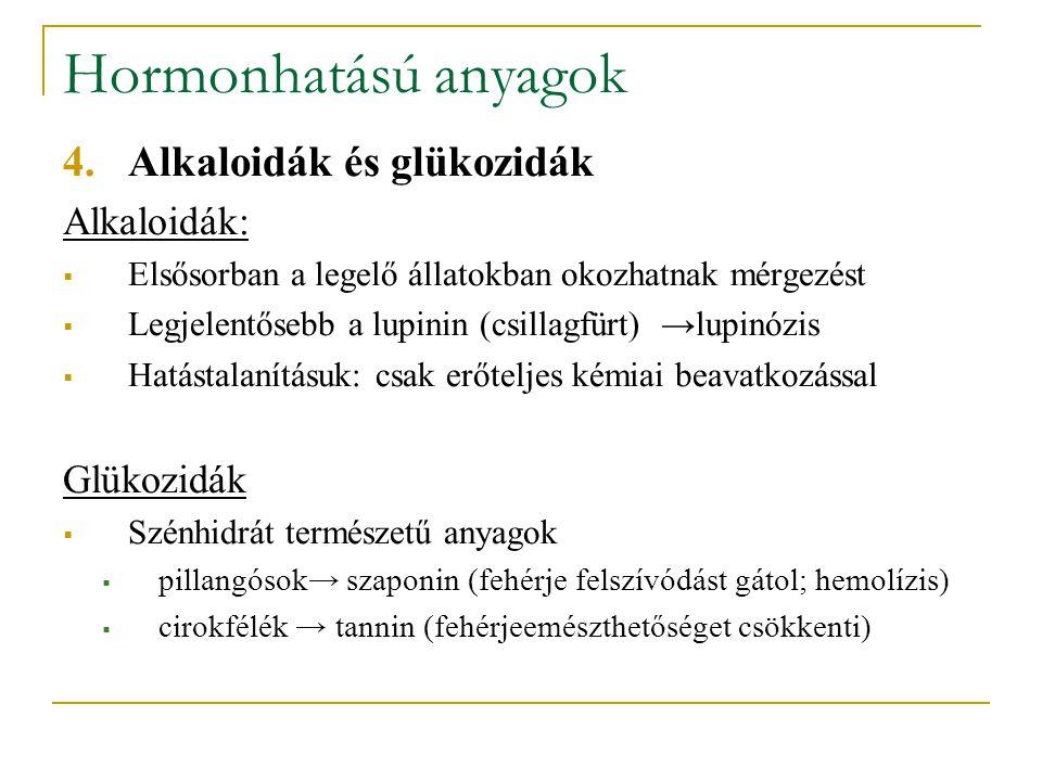 Hormonhatású anyagok Alkaloidák és glükozidák Alkaloidák: Glükozidák
