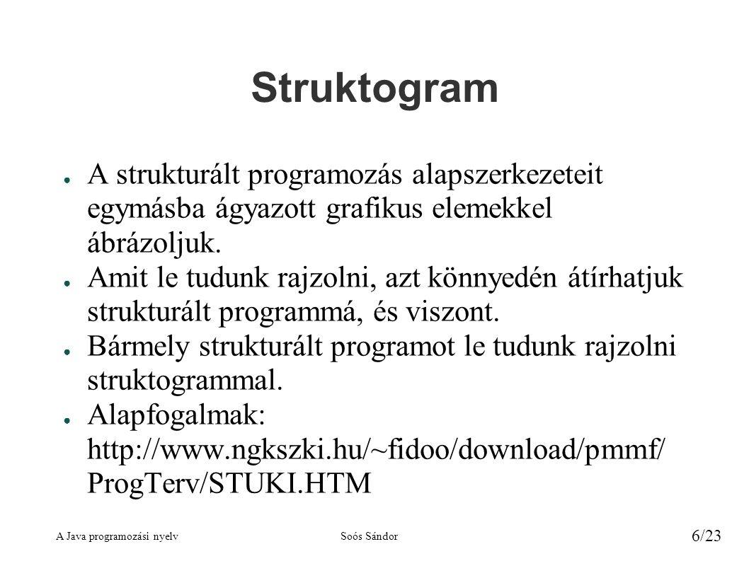 Struktogram A strukturált programozás alapszerkezeteit egymásba ágyazott grafikus elemekkel ábrázoljuk.