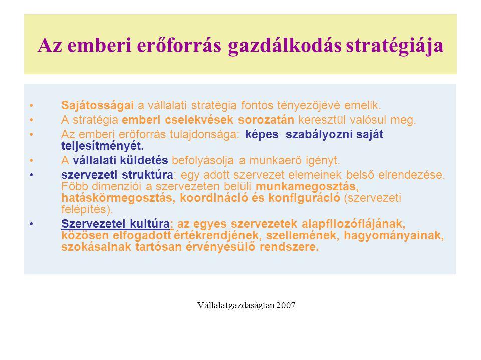 Az emberi erőforrás gazdálkodás stratégiája