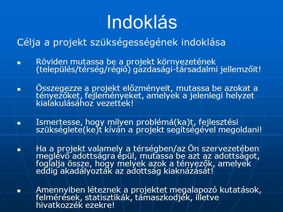 Indoklás Célja a projekt szükségességének indoklása