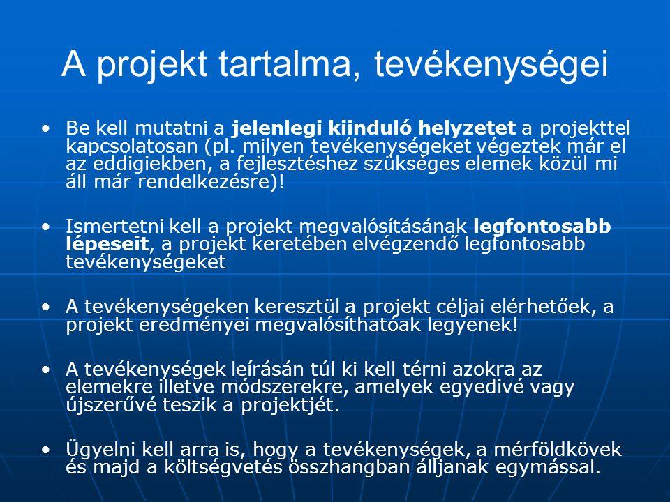 A projekt tartalma, tevékenységei