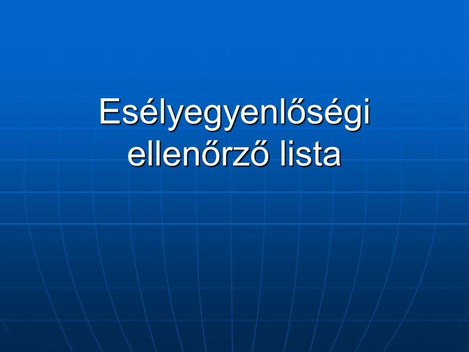 Esélyegyenlőségi ellenőrző lista