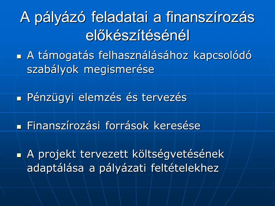 A pályázó feladatai a finanszírozás előkészítésénél