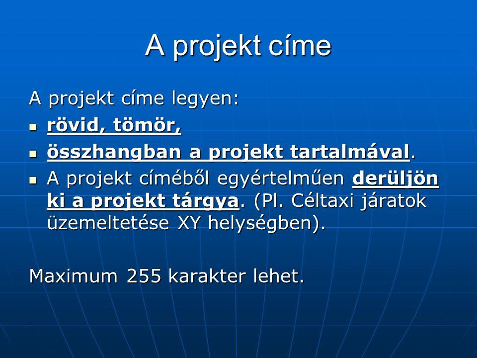 A projekt címe A projekt címe legyen: rövid, tömör,