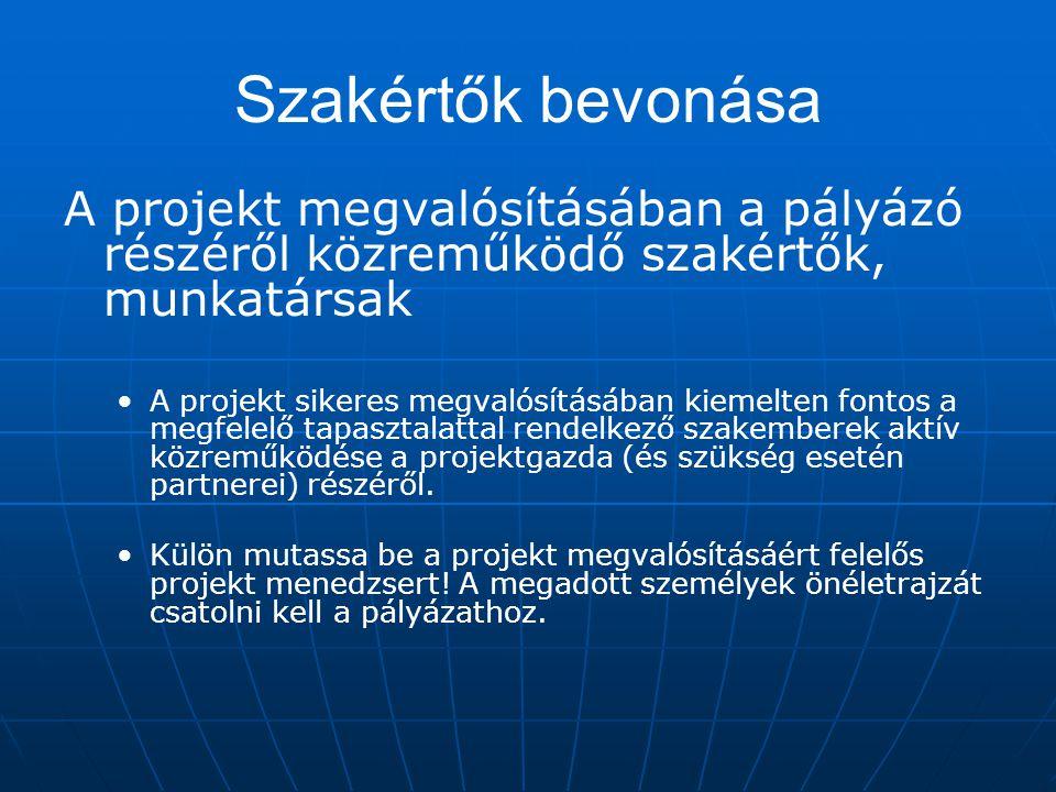 Szakértők bevonása A projekt megvalósításában a pályázó részéről közreműködő szakértők, munkatársak.