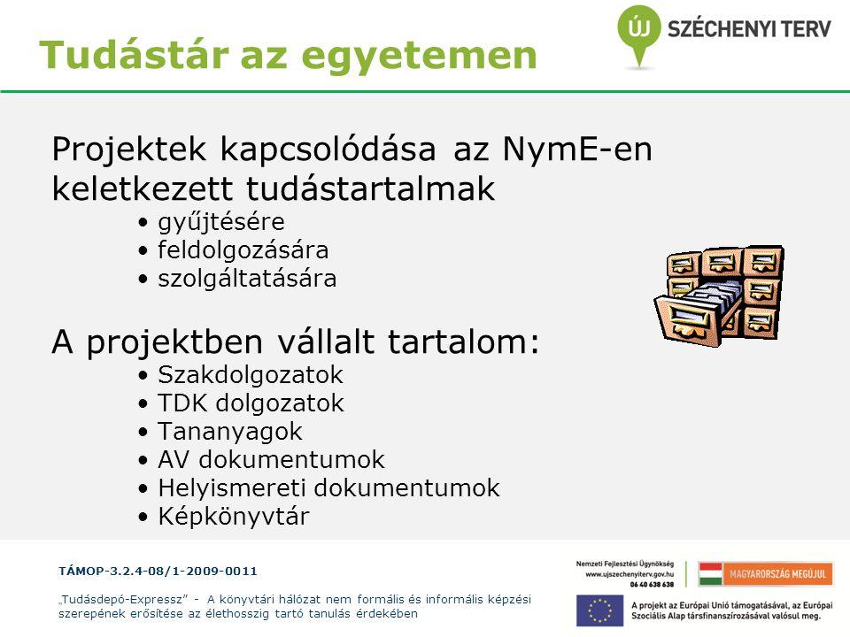 Tudástár az egyetemen Projektek kapcsolódása az NymE-en