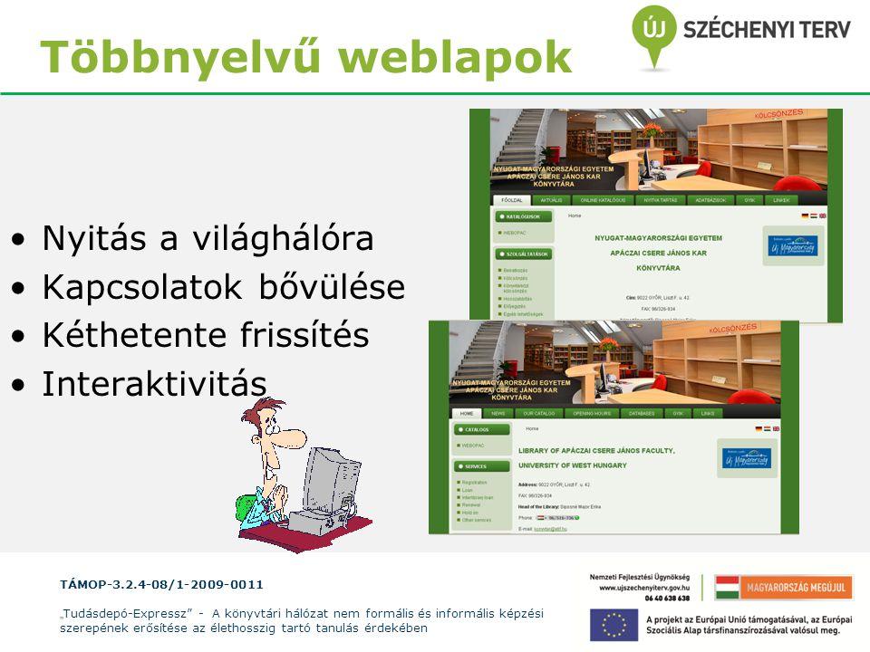 Többnyelvű weblapok Nyitás a világhálóra Kapcsolatok bővülése