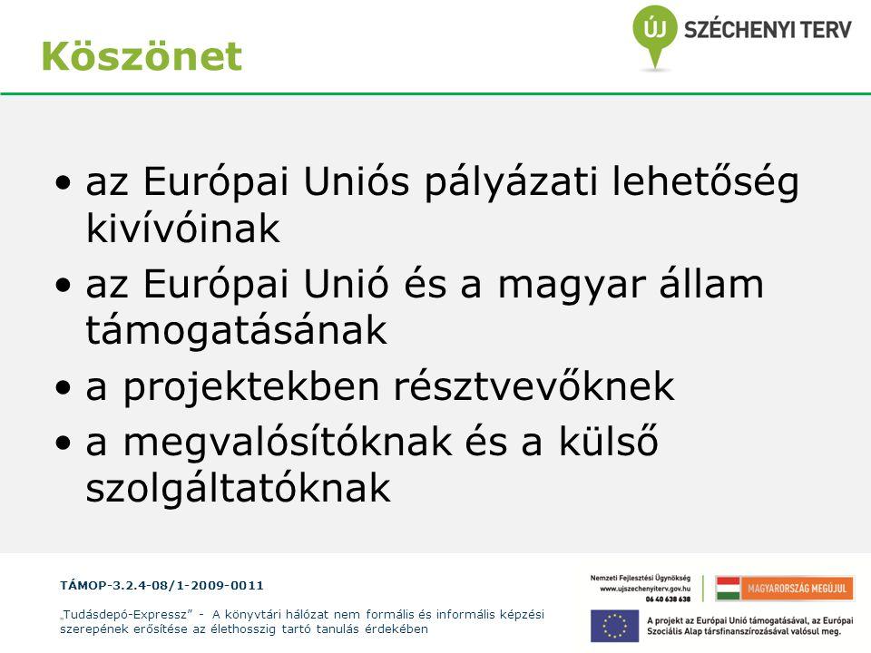 Köszönet az Európai Uniós pályázati lehetőség kivívóinak. az Európai Unió és a magyar állam támogatásának.