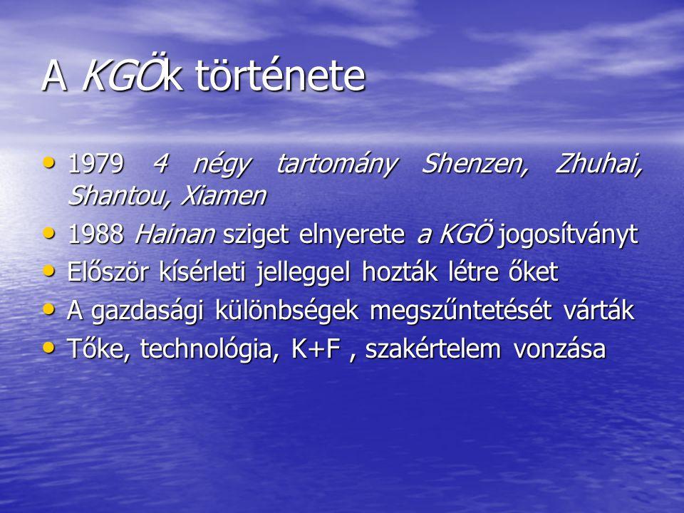 A KGÖk története 1979 4 négy tartomány Shenzen, Zhuhai, Shantou, Xiamen. 1988 Hainan sziget elnyerete a KGÖ jogosítványt.
