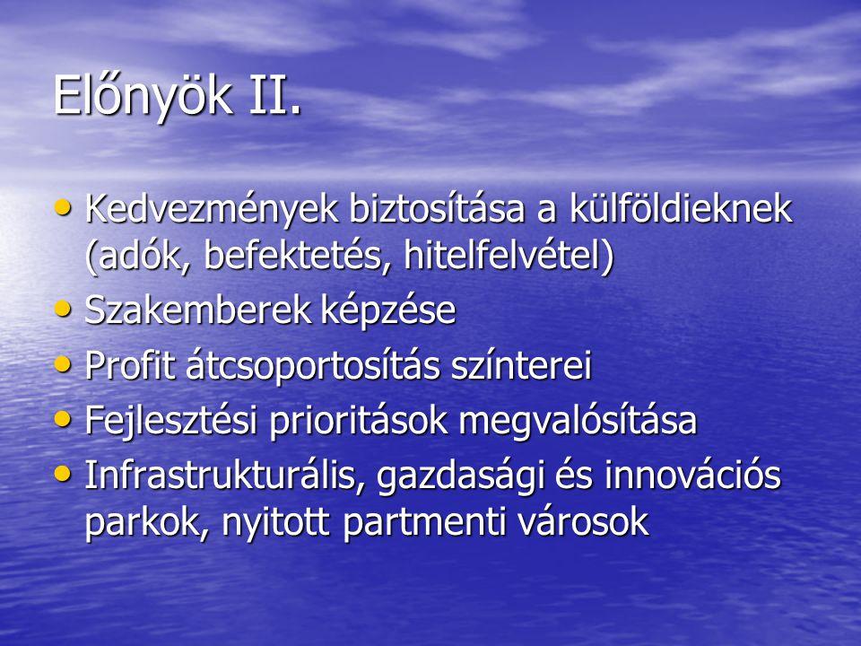 Előnyök II. Kedvezmények biztosítása a külföldieknek (adók, befektetés, hitelfelvétel) Szakemberek képzése.