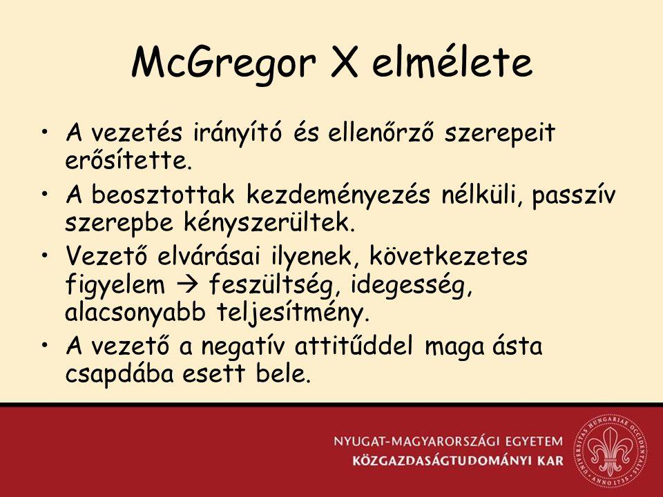 McGregor X elmélete A vezetés irányító és ellenőrző szerepeit erősítette. A beosztottak kezdeményezés nélküli, passzív szerepbe kényszerültek.
