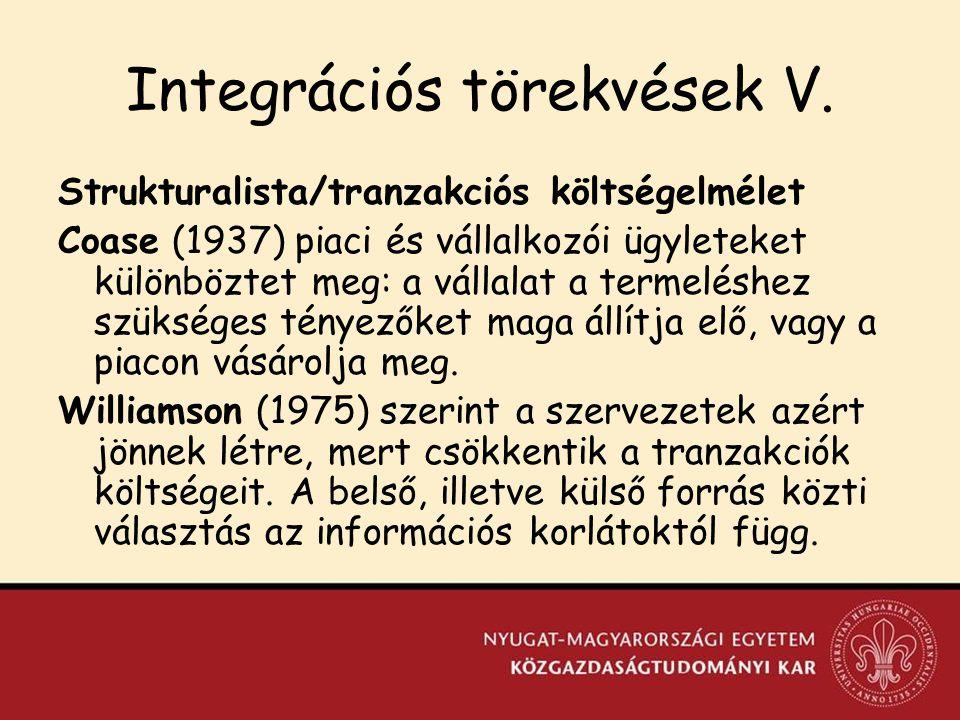 Integrációs törekvések V.