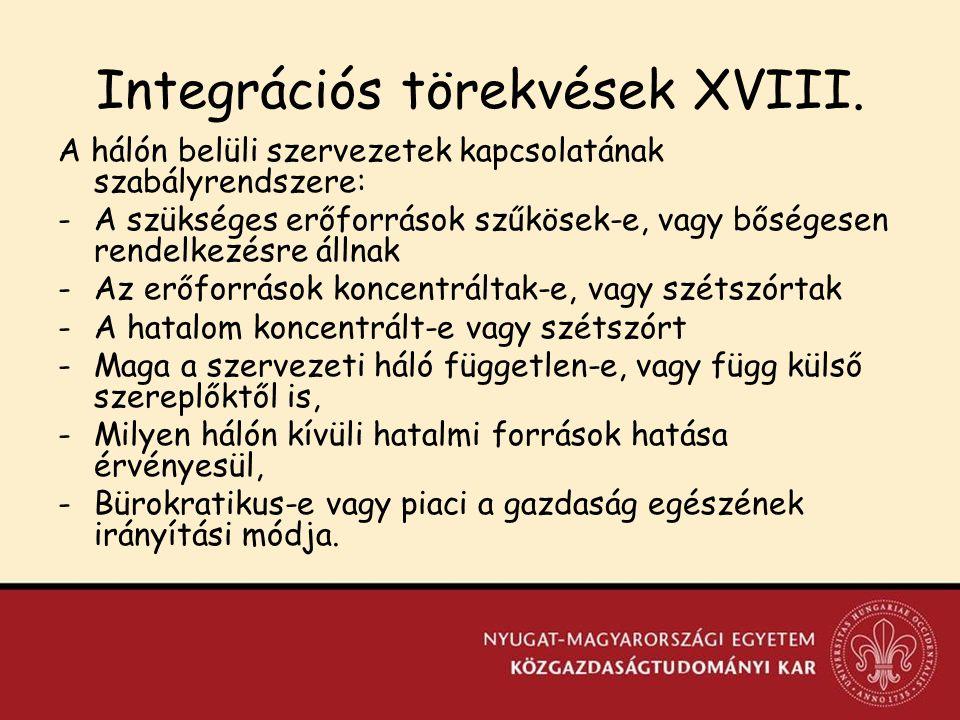 Integrációs törekvések XVIII.