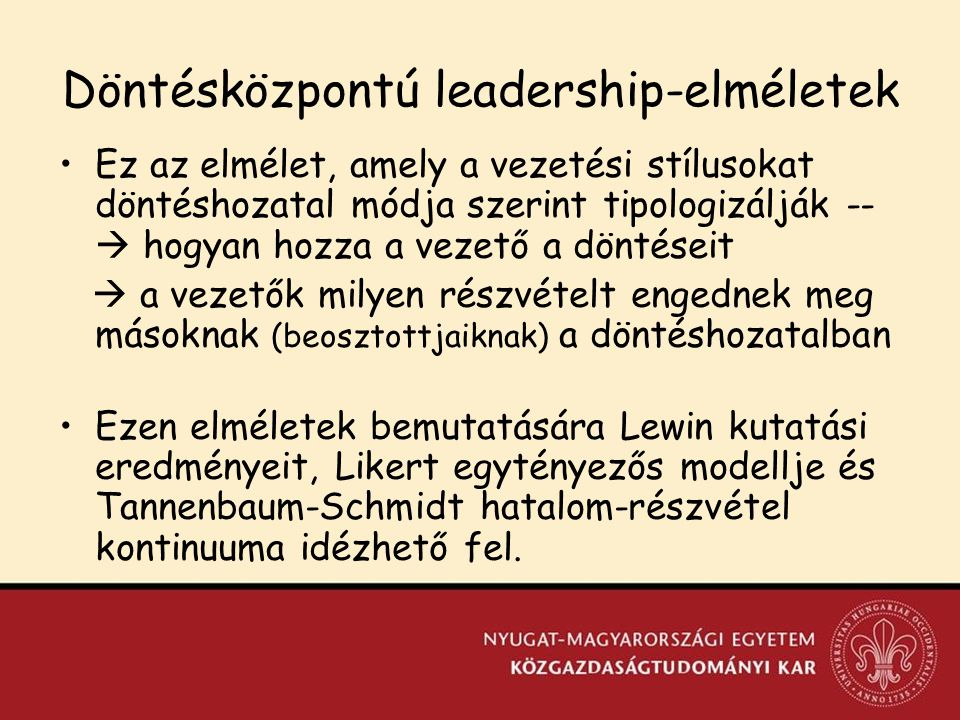 Döntésközpontú leadership-elméletek