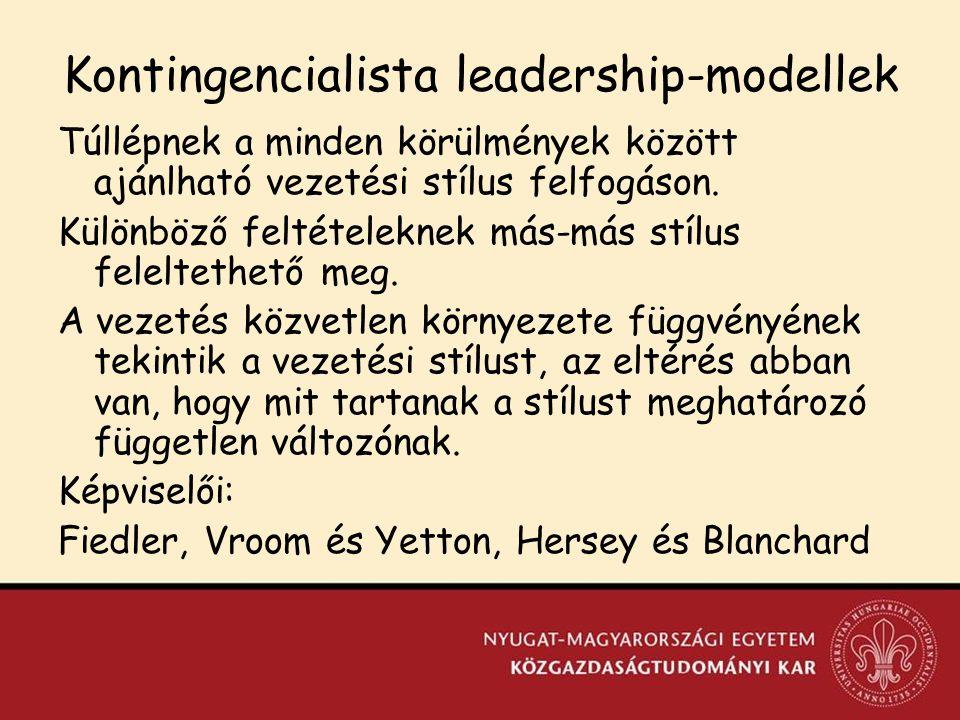Kontingencialista leadership-modellek