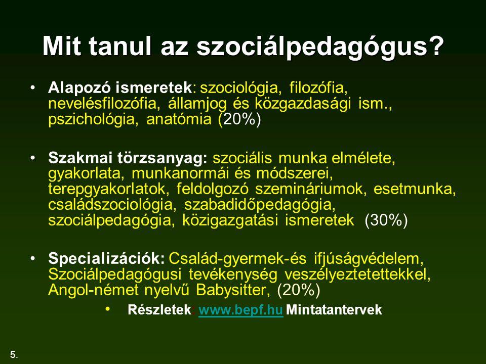 Mit tanul az szociálpedagógus