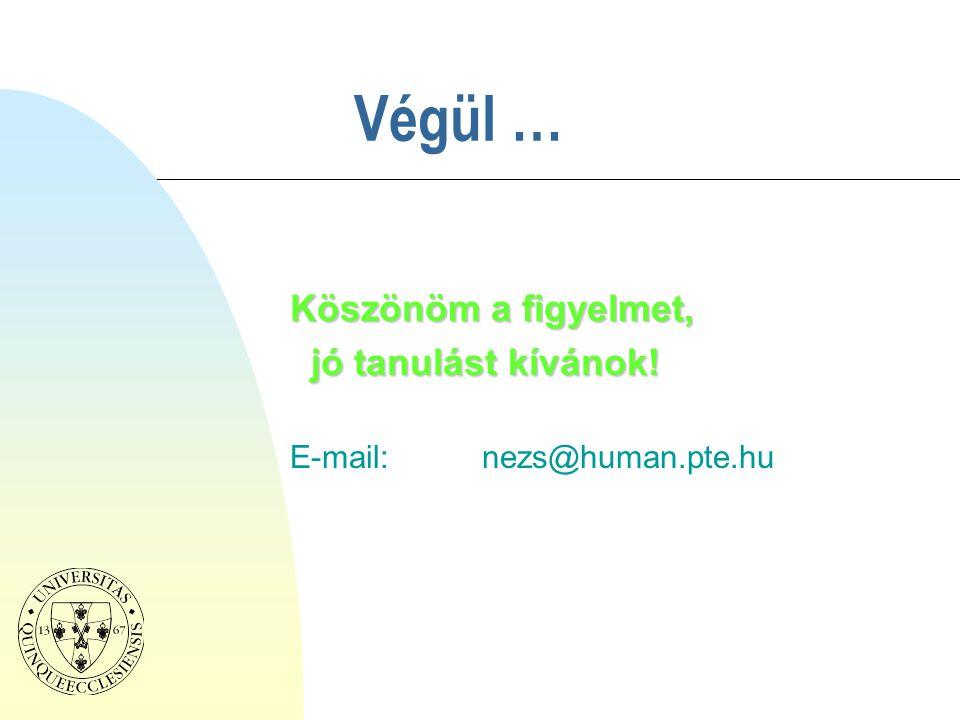 Köszönöm a figyelmet, jó tanulást kívánok! E-mail: nezs@human.pte.hu