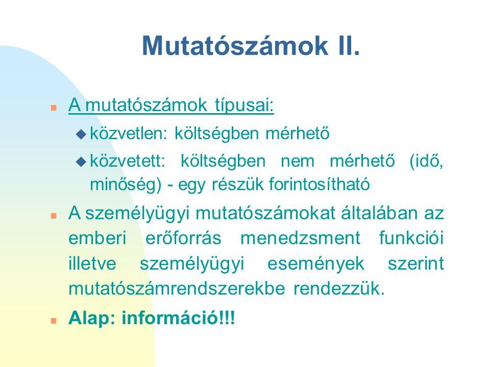 Mutatószámok II. A mutatószámok típusai: