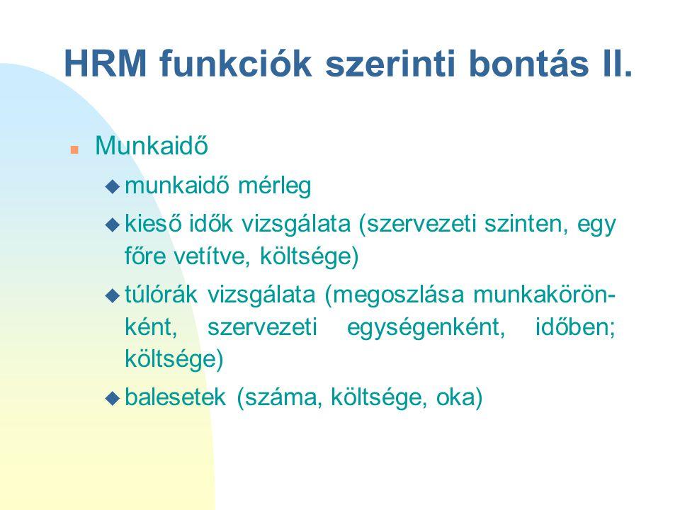 HRM funkciók szerinti bontás II.