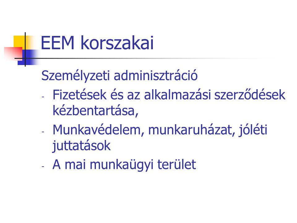 EEM korszakai Személyzeti adminisztráció