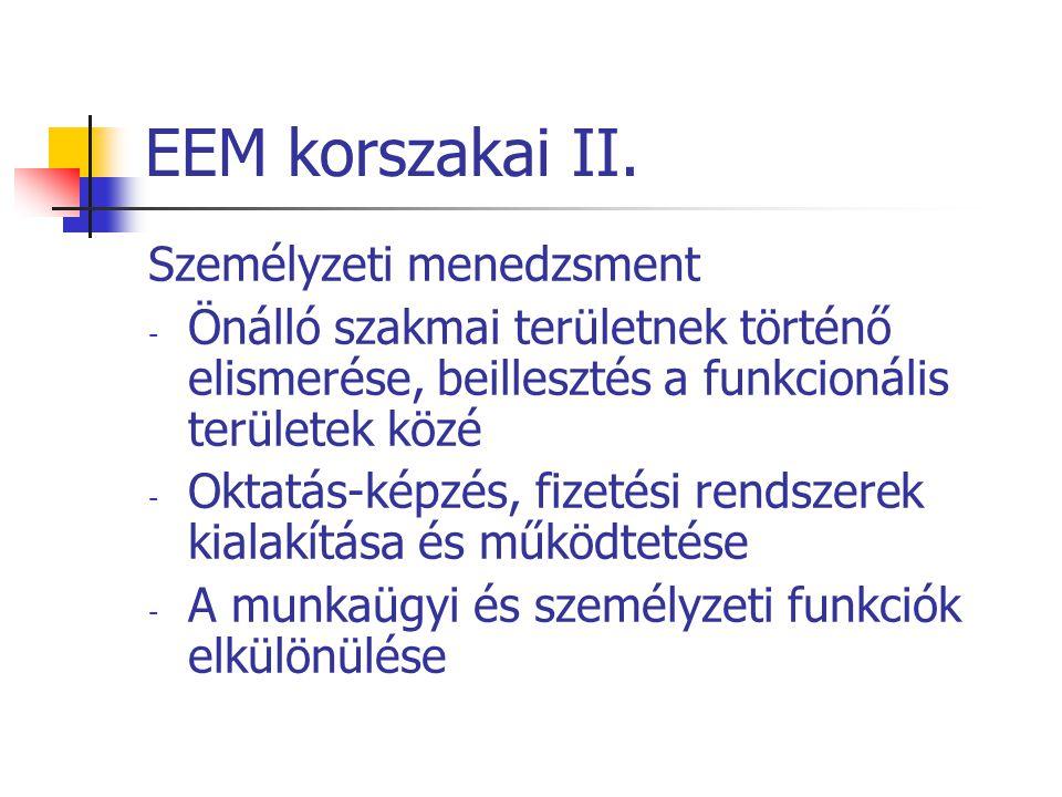 EEM korszakai II. Személyzeti menedzsment