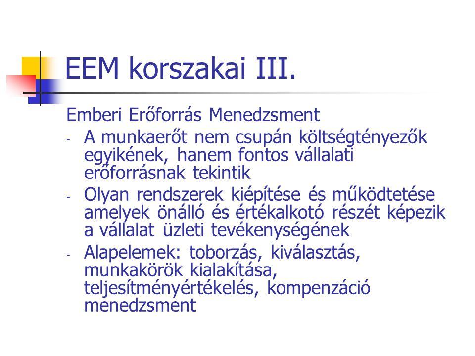 EEM korszakai III. Emberi Erőforrás Menedzsment