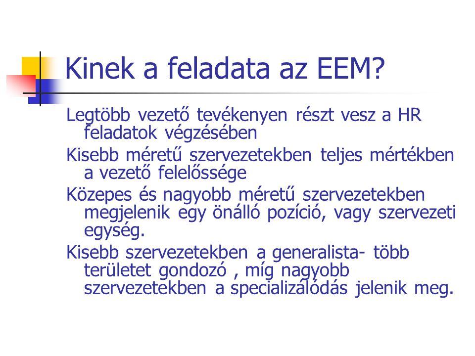 Kinek a feladata az EEM Legtöbb vezető tevékenyen részt vesz a HR feladatok végzésében.