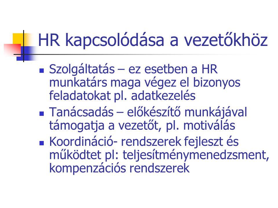 HR kapcsolódása a vezetőkhöz