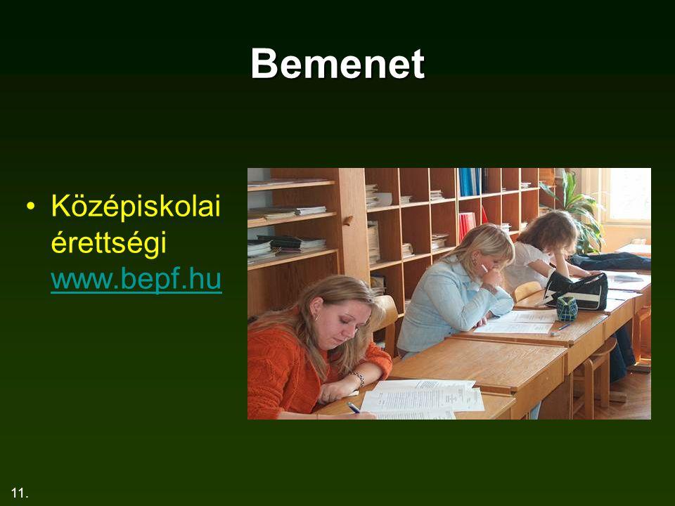 Bemenet Középiskolai érettségi www.bepf.hu