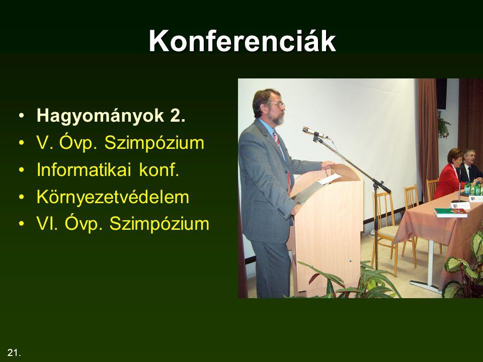 Konferenciák Hagyományok 2. V. Óvp. Szimpózium Informatikai konf.