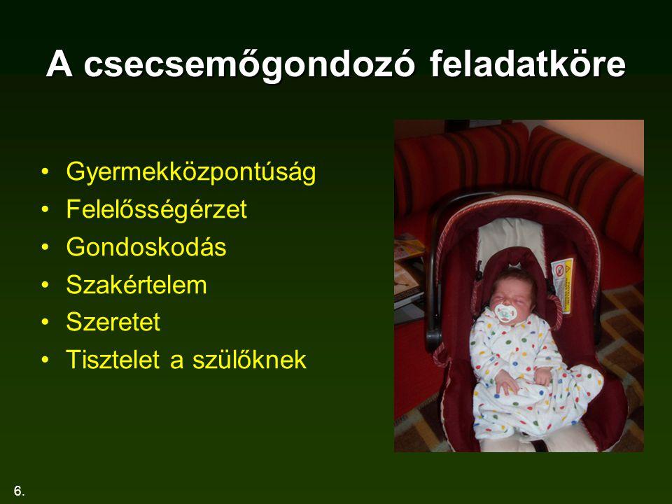 A csecsemőgondozó feladatköre
