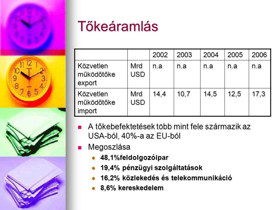 Tőkeáramlás 2002. 2003. 2004. 2005. 2006. Közvetlen működőtőke export. Mrd USD. n.a. Közvetlen működőtőke import.