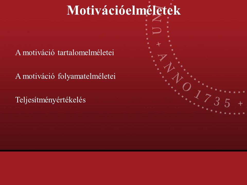 Motivációelméletek A motiváció tartalomelméletei