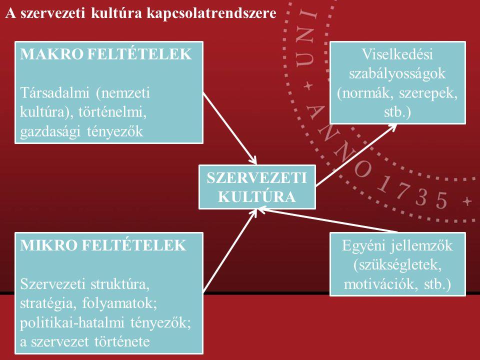 A szervezeti kultúra kapcsolatrendszere
