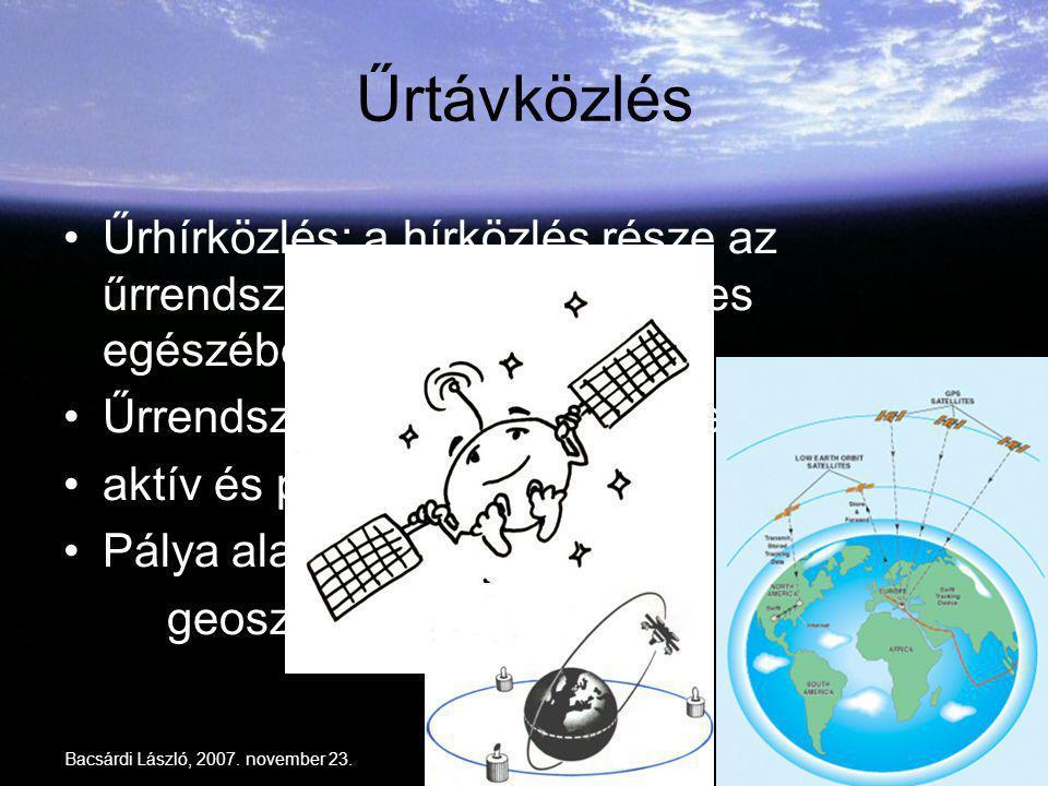 Űrtávközlés Űrhírközlés: a hírközlés része az űrrendszer (részben vagy teljes egészében) Űrrendszer: űreszköz + a teljes apparátus.